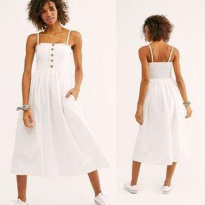 Free People Lilah Smocked Pleated Midi dress